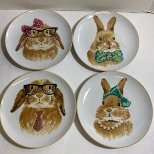 """Pier One Imports Easter Bunny Faces 8"""" Salad Plate"""